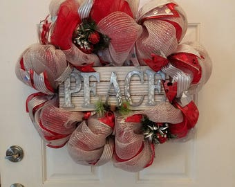 Christmas Peace Wreath for Front Door - Home Decor - Holiday Deco Mesh Wreath - Christmas Wreath - Christmas Decorations - Front Door Wreath