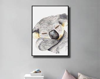 Printable Sleepy Koala Art Print, Australia Animal Art, Gray Animal Wall Art, Boho Nursery, Watercolor Koala, Digital Print, Nursery Decor