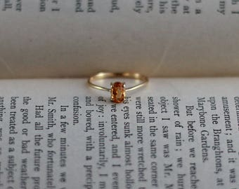 Citrine solitaire ring, 14k yellow gold, November birthstone stacking ring size 5 3/4 vintage fine jewelry