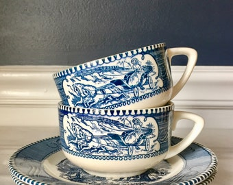 Set of 2 Vintage Royal China Currier & Ives Blue Transferware Teacups and Side/Bread Plates