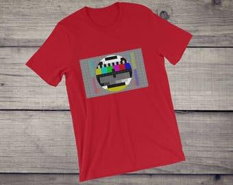 TV Test pattern t-shirt | Sheldon Cooper t-shirt | test card tee | Short-Sleeve Unisex T-Shirt for nerds geeks | television | men and women