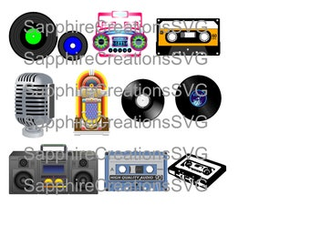 SVG Old School Music, Vinyl Records, Cassette Tapes, Boom Box, Jukebox, Silhouette Files, SVG Files, PNG Files, Old School Music