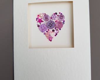 Purple Button Art Heart Card #Valentine's #Mother's day #Birthday #Wedding #Anniversary #Engagement # I love you