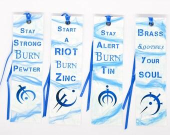 Mistborn bookmark 4-pack \ Allowmantic metals \ Brandon Sanderson \ Allowmancy bookmark \ Fantasy bookmark