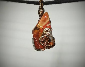 Brecciated Jasper Pendant - Wire Wrapped Jewelry - Red Stone with Crystal Highlights - Black and Tan Swirls - Spiral Wire Design - Handmade