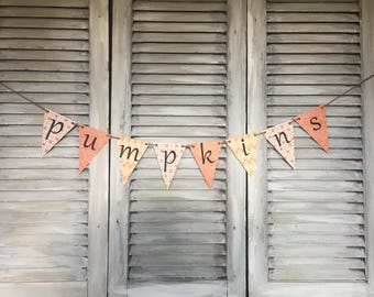 Pumpkins banner, Fall sign, Fall Banner, Autumn decor, Thanksgving decor, Fall decorations, Fall photo prop, Fall mantle, Fall Garland