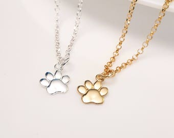 Paw Print Necklace Sterling Silver or Gold Paw Print Necklace Tiny Pawprint Necklace Cat Dog Lovers Jewelry Pet Memorial Necklace Pet G.P.