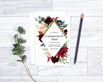 Engagement Party-Spring Engagement-Printable Invite-Floral Invite-Engagement-Burgundy-Instant Download-Printable Invitation-Gold-Maroon
