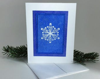 Snowflake blues embossed blank card, individually handmade with hand-painted papers: A2, notecards, fine cards, winter card, SKU BLA21044