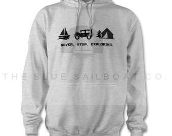 Land Rover Never Stop Exploring Hoody  One Life Live It, Land Rover, Defender, Novelty T-Shirt, Cars,  Land Rover T-Shirt Adults
