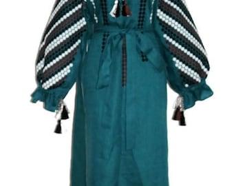 Ukrainian Boho Custom Bohemian Dress Linen Boho Style Dresses Ukrainian Embroidery Vyshyvanka Dress Vishivanka Chic Nationale Abaya Dress