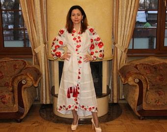Bohemian Clothes Ukrainian Vyshyvanka Dress Vishivanka Kaftan Dubai Abaya Dresses Ukraine embroidery Ethnic Clothing Folk Open in front