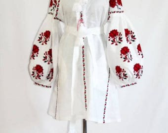 Embroidered Boho Dress Mini Bohemian Clothes Boho chic Clothing Ukrainian Dresses Vyshyvanka Custom Embroidery Shoulder Off Long Sleeve