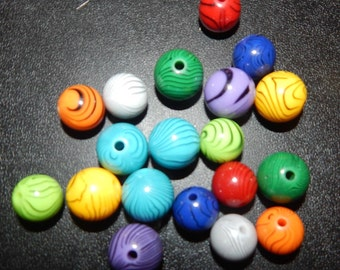 Set of Colorful Zebra Print Beads