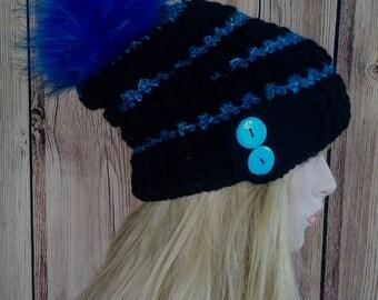 Crochet Slouchy Hat, Crochet Hat, Crochet Hat with fur pom pom, Soleil Button Slouchy, Crochet Hat with fur pom pom
