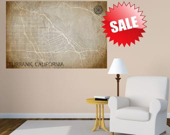 BURBANK California poster Burbank California map art California Map Burbank Poster City Map Burbank California Art Print Burbank