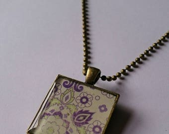 Square purple and green 'Faded Arabesque' resin pendant. Resin Necklace, Resin Jewellery, boho.
