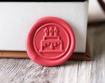 Happy birthday wax seal stamp kit, birthday cake wax seal, birthday gift,party wax seal stamp set, invitation wax stamp