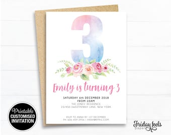 Floral Watercolor Birthday Invitation, Number printable girls birthday , any age birthday party personalised Digital Download