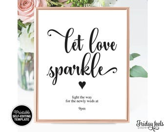 Let Love Sparkle Wedding Sign Template, Printable Self-editing Sign, Instant Download PDF, WS01