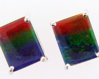 Pair of Gigantic Emerald Cut Canadian Ammolite set in 14k White  Gold