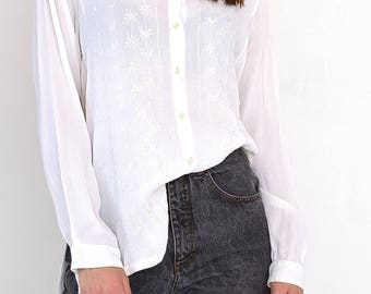 VINTAGE White Long Sleeve Retro Shirt