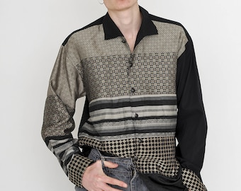 VINTAGE Black Checked Classic Patterned Long Sleeve Button Downs Retro Shirt