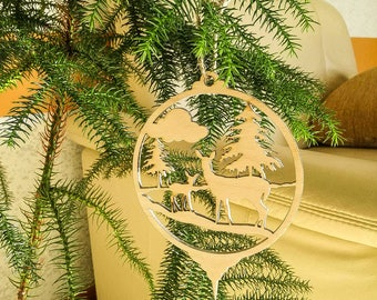 set of 6 xmas tree decors christmas tree decorations deers decoration wooden decorations