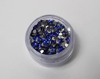 4.5 gr Rhinestone Heart 3 mm dark blue has stick (about 1350 rhinestone)