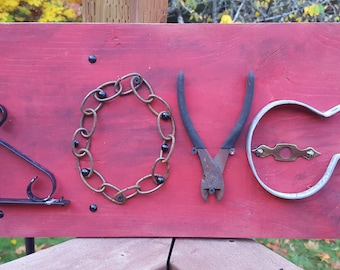 Love Sign on Scrap Wood - made with re-purposed hardware.