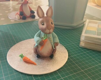 Fondant Peter Rabbit birthday,christening baby shower cake topper