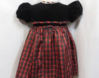 Vintage Retro Dress 90s 1990s Girls Youngland Christmas Button Back Party Retro Little Girl Petticoat Velvet Taffeta Plaid
