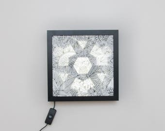 LED Origami Tessellation B+W Flowers