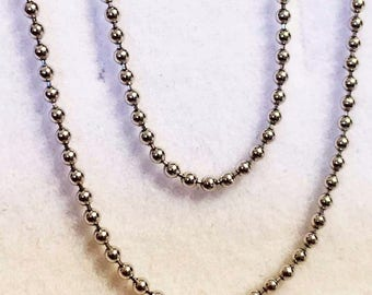 "18k solid white gold(1mm)fancy Italian bead chain(16""/18""/20"")"