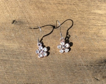 Pink flower earrings with rhinestones on stainless steel wires.