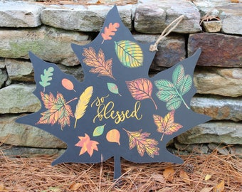 So Blessed Leaf Shaped Sign