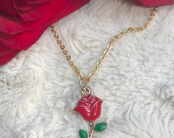 Night Train Rose Necklace - Gold Vermeil Thorn Long Stem - Gold Layer Layers Necklace - Tattoo Inspired -
