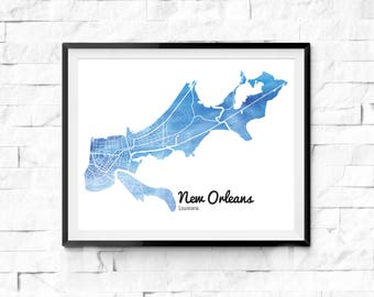 New Orleans Watercolor Map. New Orleans Louisiana. New Orleans Wall Art. New Orleans Painting. Watercolor City Map. New Orleans Art Print