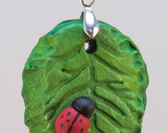 Ladybug on a Leaf Pendant