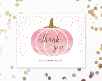 Pink Pumpkin Baby Shower Thank You Cards   Personalized Thank You Cards   Baby Shower Girl   Thank You Card Printable   Pink and Gold