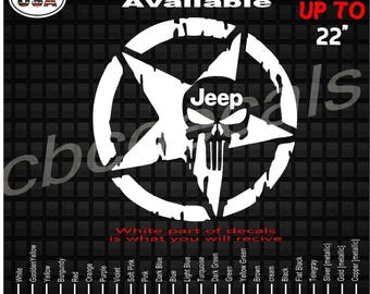 Jeep Wrangler Punisher Skull Star Vinyl Decal Sticker | Window Decals | American Flag | Punisher Skull  | Jeep Wrangler Rubicon | Patriotic