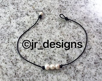 Freshwater 3 Pearl Choker Necklace