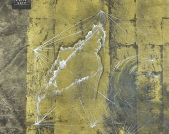 Modern Abstract Art Charles Stegeman Expressionism Vintage Original Geometric Gold Leaf Modern Urban 20th Century