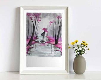 Dare to Move - girl with the umbrella - Watercolor Painting Print