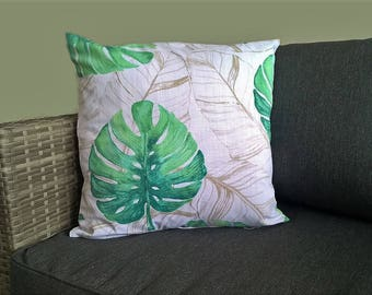 Tropical Monstera Leaf print cushion cover