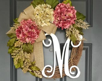 Spring Wreath ,Grapevine Wreath,Year Round Wreath,Front Door Wreath, Housewarming Gift,Mother's Day Gift,Personalized Monogramed Wreath