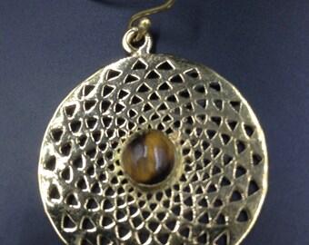 Tiger eye brass earrings.