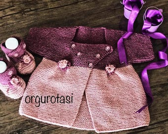 Hand-Knit Purple Baby Dress with Booties