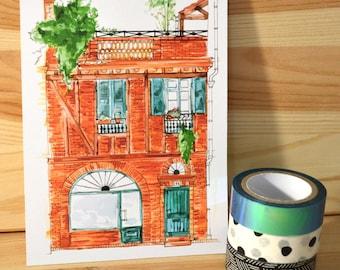 Postcard: Toulouse building