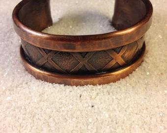 Hand-made hammered copper cuff